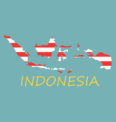 flag map of indonesia vector image