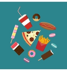 Flat style junk food icons vector