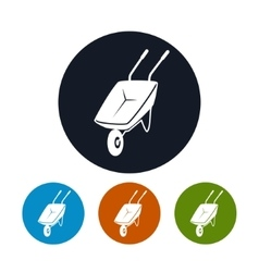 Four Types of Round Icons Wheelbarrow vector image