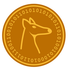 Fox head digital coin vector