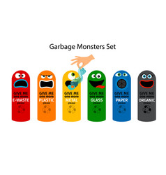 Garbage cans for kids vector