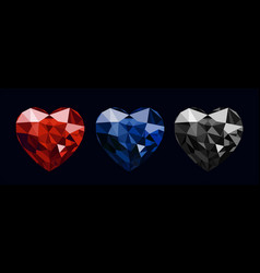 gem stones heart shape colour set vector image