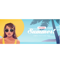 girl in a hat on a tropical vector image
