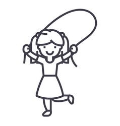 girl with jumping rope line icon sign vector image vector image