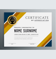 Gold and blue multipurpose certificate design vector