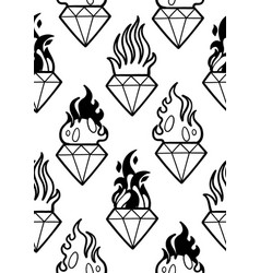 graphic flaming gemstones vector image