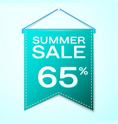 Green pennant with summer sale sixty five vector