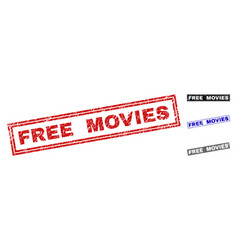 Grunge free movies scratched rectangle stamps vector