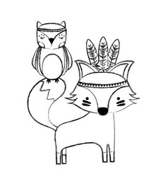 Grunge owl and fox animals with feathers design vector