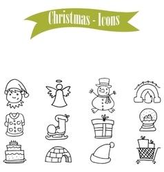 Hand drawn object Christmas icons set vector image