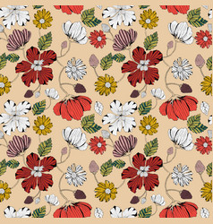 Hand drawn styled floral pattern vector