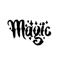 Hand drawn witch and magic word lettering vector