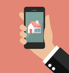 Hand holding smart phone with house icon vector