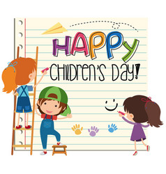 happy childrens day card vector image