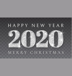 happy new year and marry christmas 2020 silver vector image