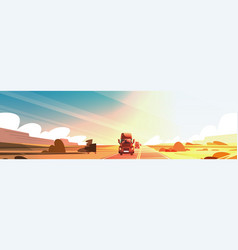 Horizontal banner with big semi truck trailer vector