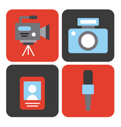 Icons set news objects vector