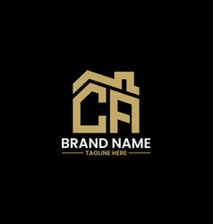 initial letter c and a with roreal estate vector image