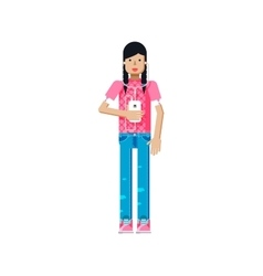isolated of European girl in pink vector image