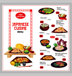 Japanese cuisine traditional dishes menu vector