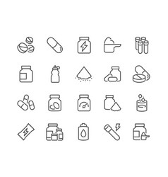 Line sport supplements icons vector