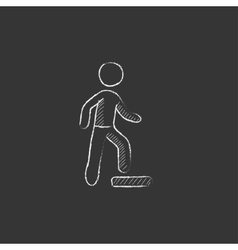 Man doing step exercise Drawn in chalk icon vector image