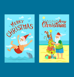 Merry christmas santa claus and monkey sea swim vector