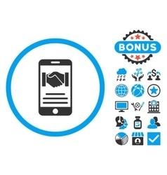 Mobile Agreement Flat Icon with Bonus vector image