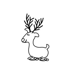 monochrome contour caricature of funny reindeer vector image