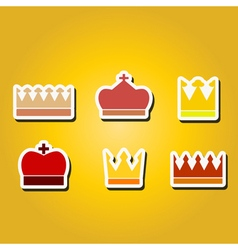 Monochrome icons with crown vector