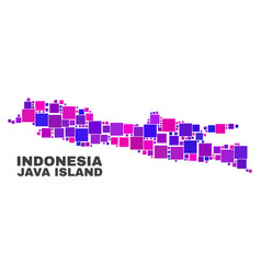 Mosaic java island map of square elements vector