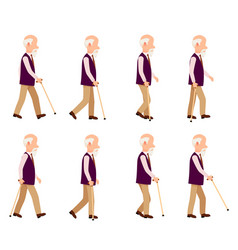 Old man with stick collection character icons vector