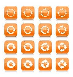 Orange arrow reset sign square icon web button vector