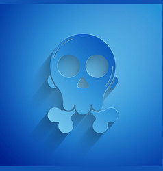 Paper cut skull on crossbones icon isolated on vector