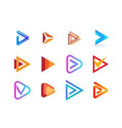 play button creative logo collection right vector image