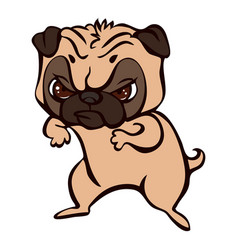 pug fight icon cartoon style vector image