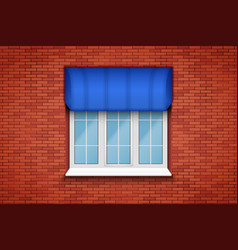 Pvc window with awning vector