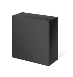 realistic black open package box vector image