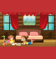 Scene with two girls in bedroom vector