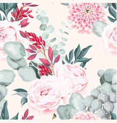 seamless pattern with pastel vintage flower vector image