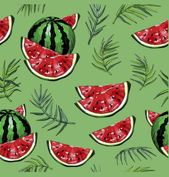 seamless pattern with watermelons and palm leafs vector image