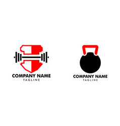 set fitness sport body building logo icon vector image