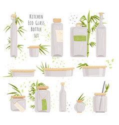 Set glass rectangular glass containers vector