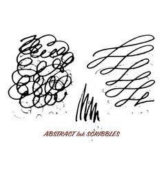 Set hand drawn ink pen swirly scribbles vector