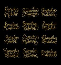 Set handwritten calligraphic inscriptions ramadan vector
