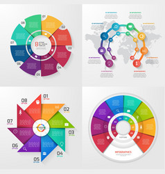 set of 4 infographic templates with 8 options vector image