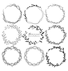 set of botanical round frame hand drawn flowers vector image