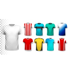 set of colorful soccer jerseys the t-shirt vector image