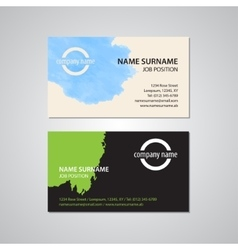Set of two business cards with stain vector