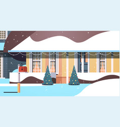 snow covered house yard in winter season house vector image
